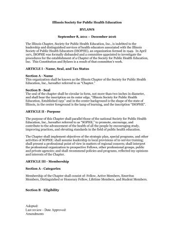 ISOPHE By-LAWS - Society for Public Health Education