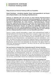 Diagnostik Zentrum Fleetinsel Hamburg schafft neue Kapazitäten
