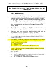 Procedures for investigation of alleged cheating - University of ...