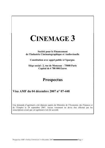 PROSPECTUS SOFICA CINEMAGE 3 - Haussmann Patrimoine