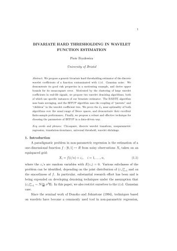 bivariate hard thresholding in wavelet function ... - LSE Statistics