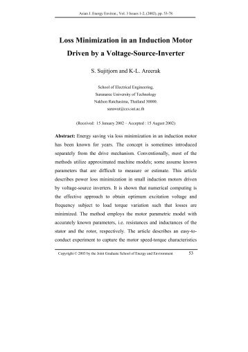 Loss Minimization in an Induction Motor Driven by a Voltage-Source ...