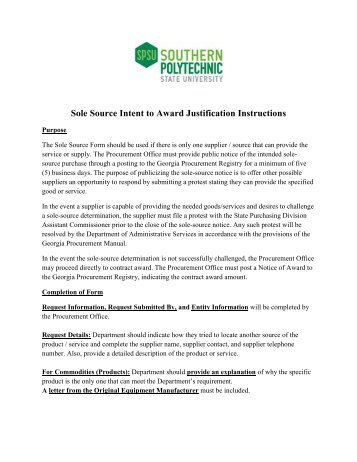 Sole Source Intent to Award Justification Instructions - Southern ...