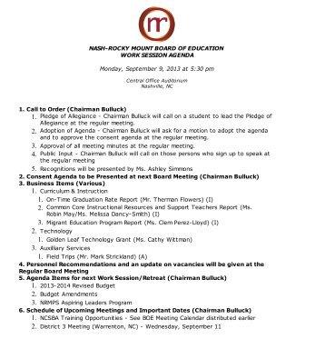 Agenda - Nash-Rocky Mount Schools