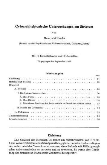 Cytoarchitektonische Untersuchungen am Striatum - Atlas of the ...
