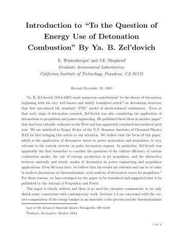 "Introduction to ""To the Question of Energy Use of Detonation ..."