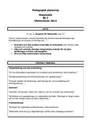 Pedagogisk planering Matematik Åk 2 Vårterminen 2012