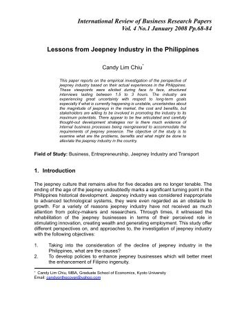 Lessons from Jeepney Industry in the Philippines - International ...