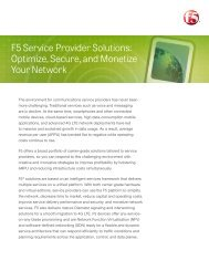 F5 Service Provider Solutions: Optimize, Secure, and ... - F5 Networks