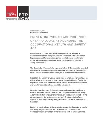 preventing workplace violence: ontario looks at ... - Hicks Morley