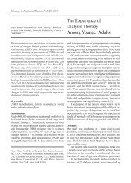 The Experience of Dialysis Therapy Among Younger Adults