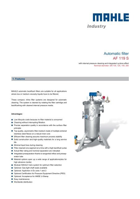 Automatic filter AF 119 S - MAHLE Industry - Filtration