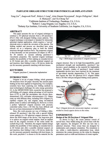 Parylene Origami Structure for Intraocular Implantation