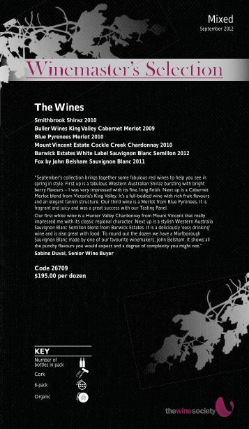 Winemaster's Selection September 2012 - Mixed - The Wine Society