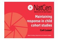 Maintaining response in child cohort studies - Centre for ...