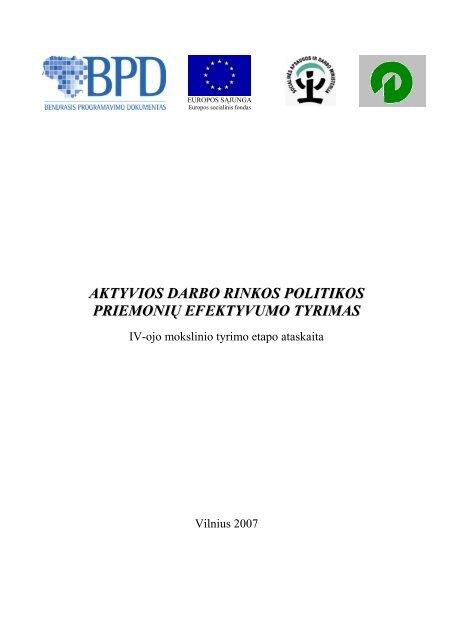 aktyvios darbo rinkos politikos priemonių efektyvumo tyrimas