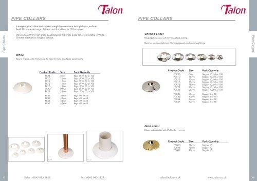 Talon pipe collars