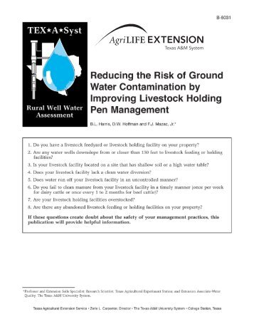 Reducing the Risk of Groundwater Contamination by ... - Trinity Waters