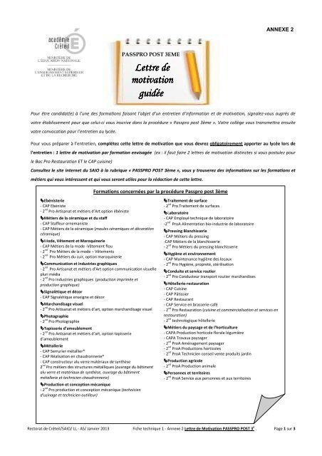 Lettre Motivation Passpro 3eme Pdf Orientation