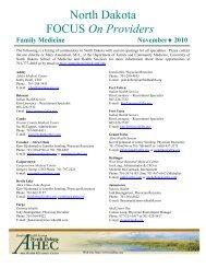 FOCUS On Providers - School of Medicine & Health Sciences ...