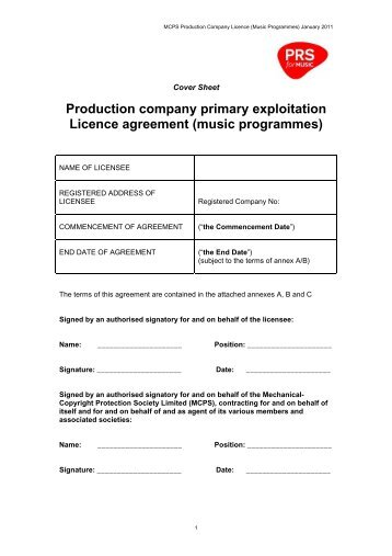 Production company primary exploitation Licence agreement ... - PRS