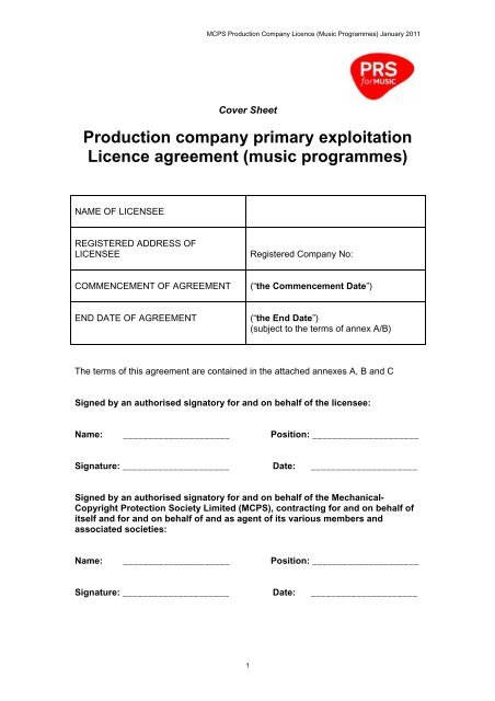 Production Company Primary Exploitation Licence Agreement Prs