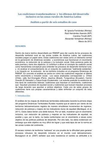 Las coaliciones transformadoras y los dilemas del ... - Rimisp