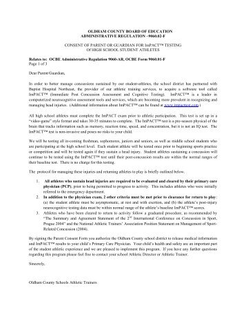Impact Concussion Parent Permission Form - Oldham County Schools