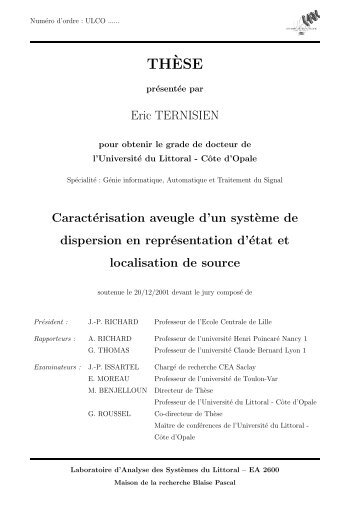 TH`ESE - LISIC - Université du Littoral-Côte-d'Opale