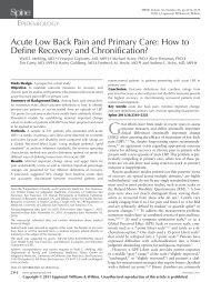 Acute Low Back Pain and Primary Care - Lippincott Williams & Wilkins