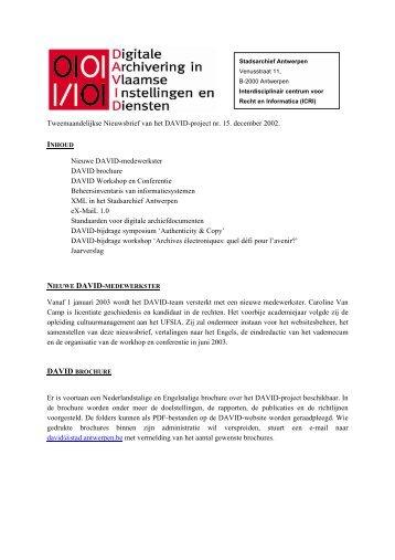 Tweemaandelijkse Nieuwsbrief van het DAVID-project nr ... - eDAVID