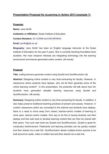 Presentation Proposal for eLearning in Action 2013 (example 1)