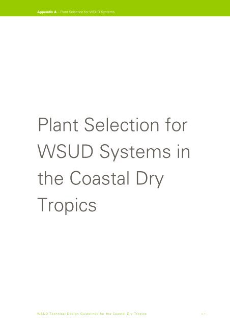 Plant Selection for WSUD Systems in the Coastal Dry Tropics