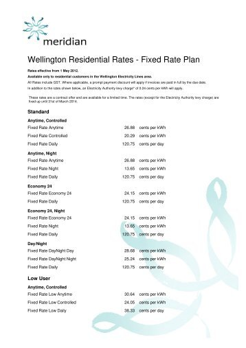 Wellington Electricity Lines Fixed Rates - Meridian Energy