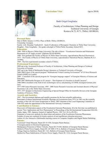 Curriculum Vitae (up to 2010)