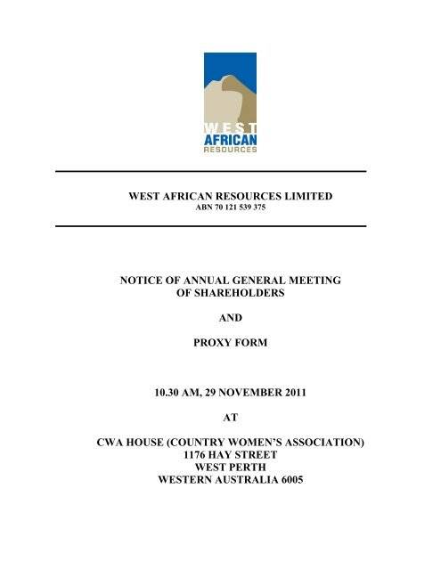 Notice of AGM/Proxy Form - West African Resources
