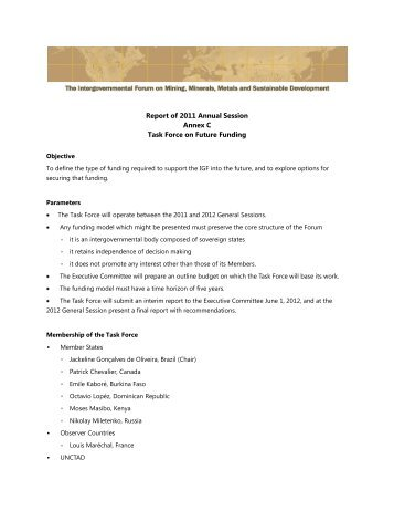 Report of 2011 Annual Session Annex C Task Force on Future ...
