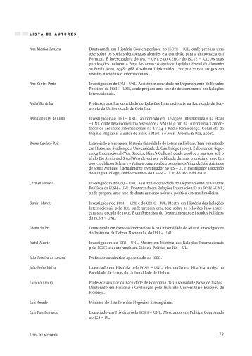 Lista de Autores - IPRI — Instituto Português de Relações ...