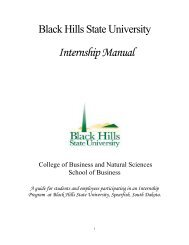 Internship Manual - Black Hills State University