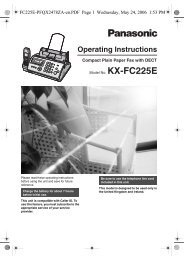 to download the KX-FC225 Product Manual - PMC Telecom