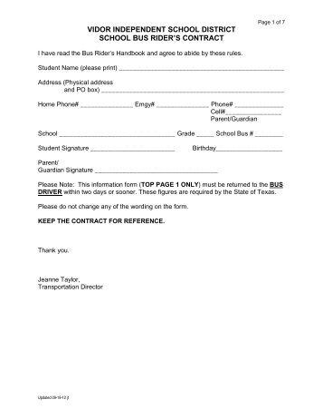 Bus Rider's Handbook - Vidor Independent School District