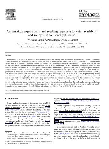 Germination requirements and seedling responses to water ... - IFM