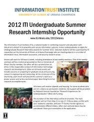 ITI Undergraduate Research Internship Opportunity, Summer 2008