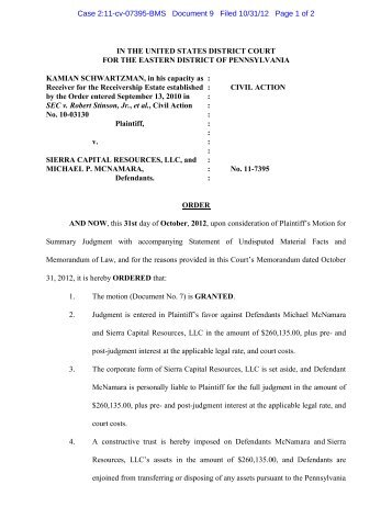 Order signed by Judge Schiller Granting Motion for Summary ...