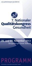 Programm - 7. Nationaler Qualitätskongress Gesundheit