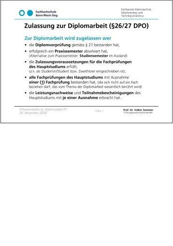 Zulassung zur Diplomarbeit - Hochschule Bonn-Rhein-Sieg