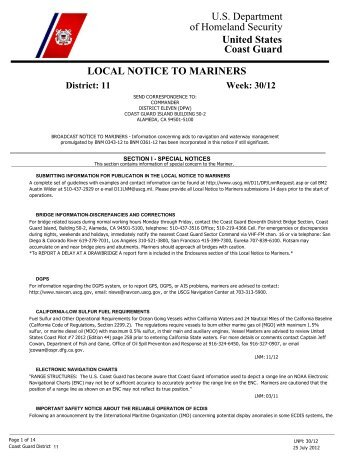 Local Notice To Mariners Week #30-2012 - Dana Point Boaters ...