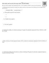 WORKSHEET for PART II - Avon Chemistry