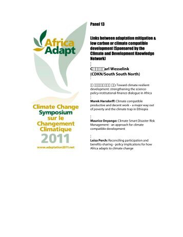 Day 3, panel 13: Links between adaptation, mitigation ... - Africa Adapt