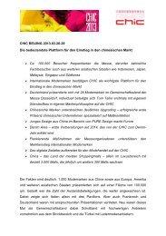 Pressemitteilung CHIC BEIJING - Gesamtmasche